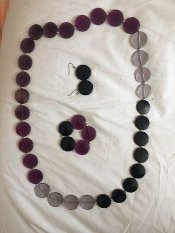 Zestaw biżuterii naszyjnik kolczyki bransoletka