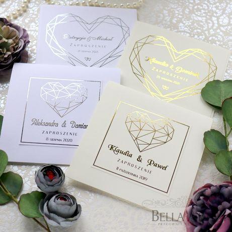Złocone SERCE Eleganckie Zaproszenia ślubne na ślub Klasyczne Glamour