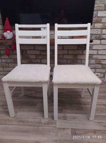 Krzesla kuchenne drewniane białe odrestaurowane