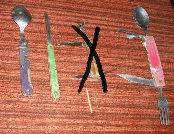 Нож складной перочинный с ложкой и вилкой ссср. 3 шт одним лотом.