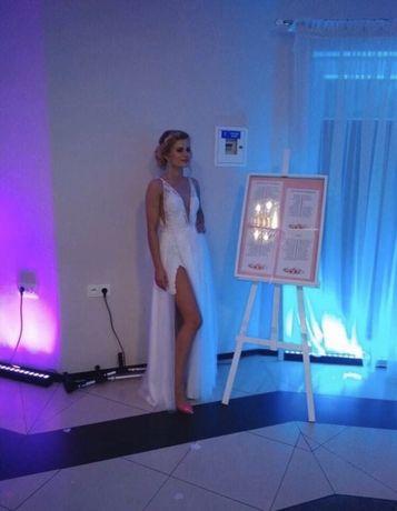 Zjawiskowa niespotykana suknia ślubna jak berta bridal tren