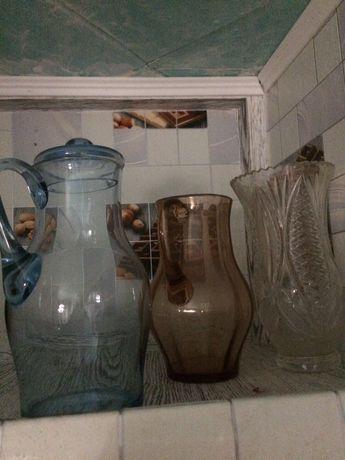 графин горшок глиняный ваза хрусталь пепельница , салатница