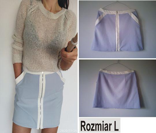 niebiesko-biała spódnica letnia krój trapez rozmiar L New Look