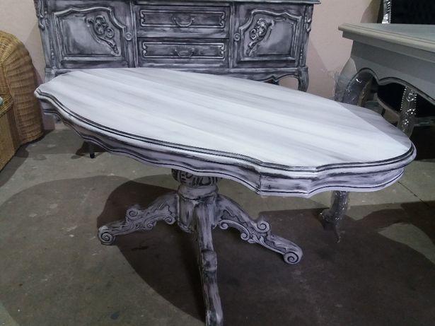 Stylowa piękna ława stół w stylu ludwik Glamour po renowacji jak nowa