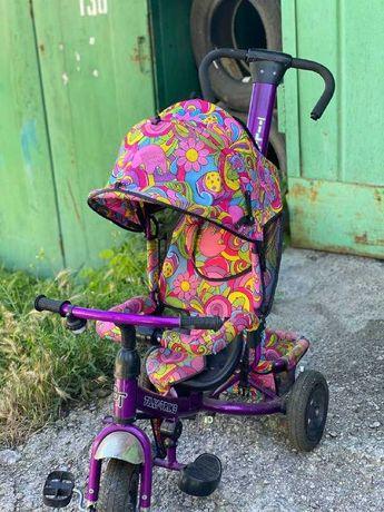 Детский трехколесный велосипед коляска с ручкой