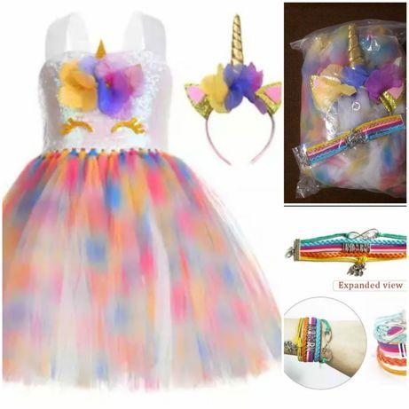 РАСПРОДАЖА -50%. Яркое, стильное платье в стиле единорога +Подарок