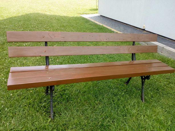 Ławka drewniana szerokość 180 cm malowana nogi żeliwne retro - okazja