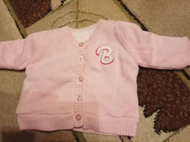 Sweterek dziewczęcy niemowlęcy ciepły ocieplany różowy rozmiar 50