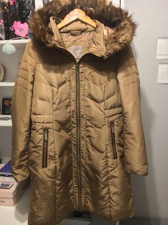 Brązowa kurtka/płaszcz z kapturem futerko Zara