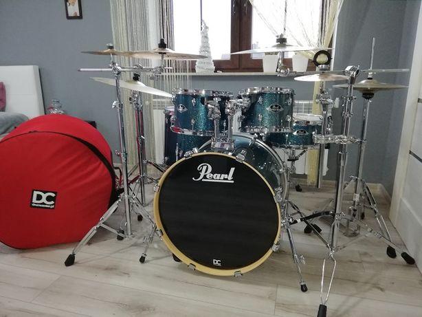 Perkusja PEARL EXPORT + statywy + talerze + pokrowce - jak nowa !!!