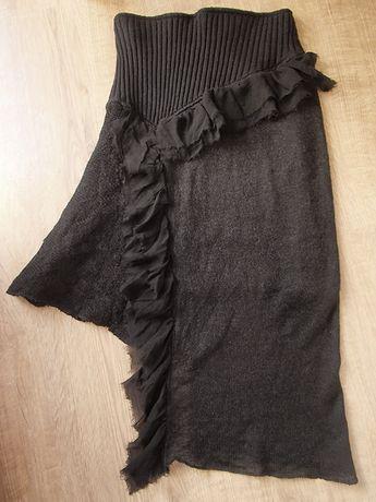 oryginalna asymetryczna spódnica S dzianina wełna jedwab