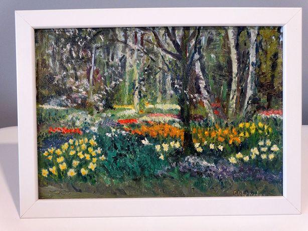 Obraz Olejny Akryl Pejzaż Na Płycie W Ramie Łąka Kwiaty