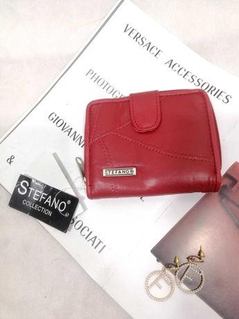 Красный кожаный кошелек портмоне stefano