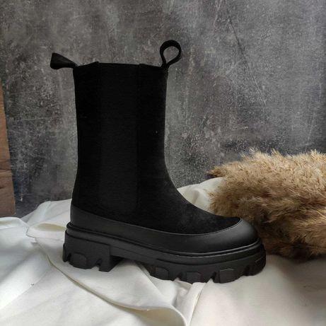 Ботинки в стиле Zara  из экозамши