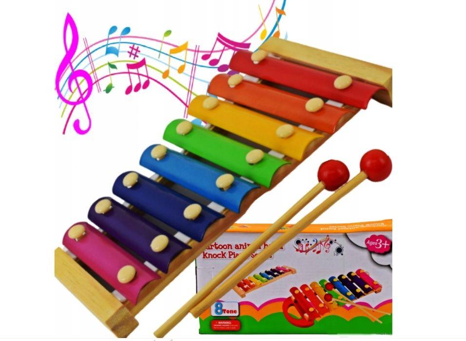 Cymbałki Drewniane Kolorowe 8 Tonów Dzwonki Pałeczki Radom - image 1
