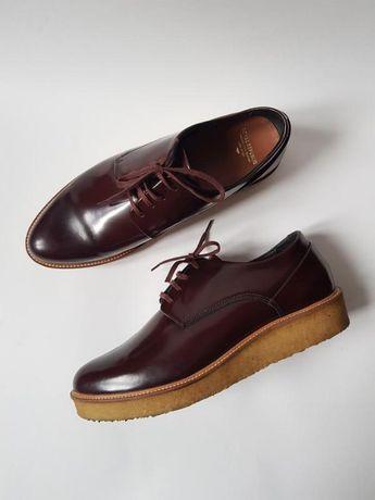 Женские кожаные дерби,лакированные туфли подошва каучук royal republiq