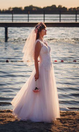 OKAZJA Suknia ślubna welon 36 38 40 biała krój litera A wzrost 178cm