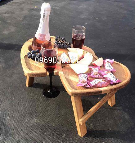 Винний столик два серця..еко посуд..менажниця..