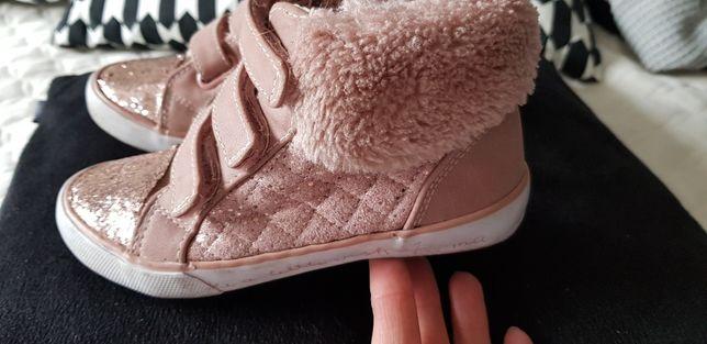 Buty pólbuty brokat, futerko, pudrowy róż, stylowe rozm.28 jakZara,H&M