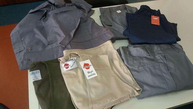 Lote de vestuário promocional batas de trabalho, coletes, calças, etc.
