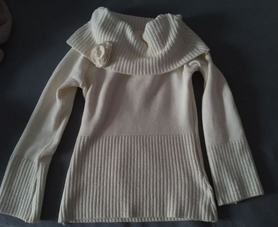 Sweter golf ecru srebrna nitka elegancki jak nowy