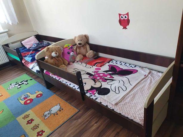 łóżko dziecięce z materacem 160x80 wanilia-orzech  2 szt