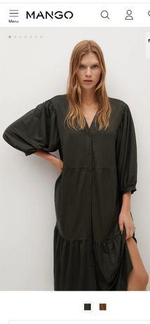 Новое женское платье-миди MANGO оригинал, размер XL, тёмный хаки