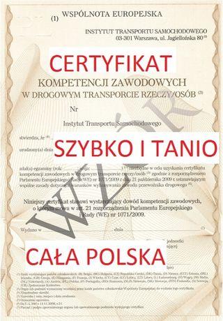 Certyfikat Kompetencji , Licencja Krajowa ,UBER ,BOLT , SPEDYCJA Tanio