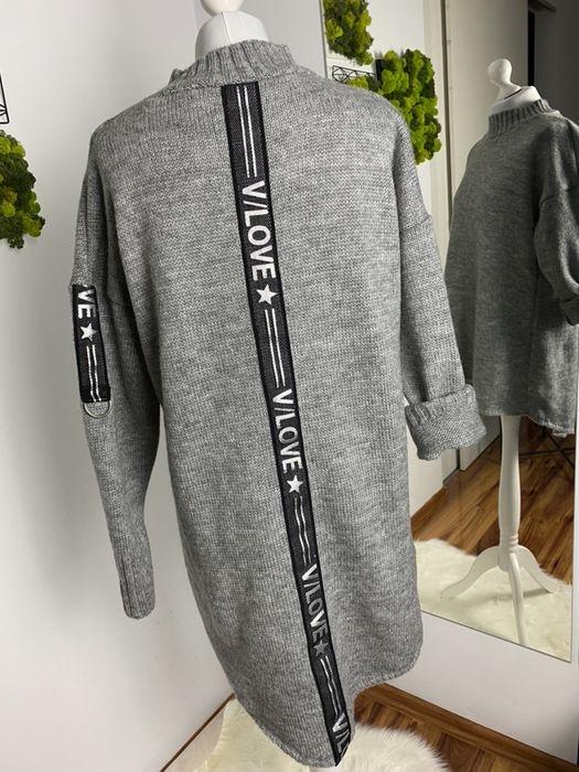 Swetry 30% wełny, przedłużone, ciepłe, lamówka 3 kolory Radzionków - image 1
