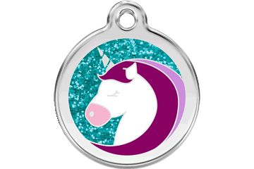 Адресник Red Dingo Glitter 30мм. Unicorn Aqua