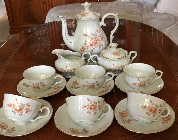 Bohemia ''Alpin rose'' Czechoslowacja, serwis kawowy 6 osob, porcelana