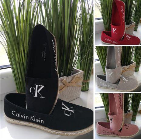 Baletki espadryle czerwone czarne Różowe szare CK Calvin Klein 37-41