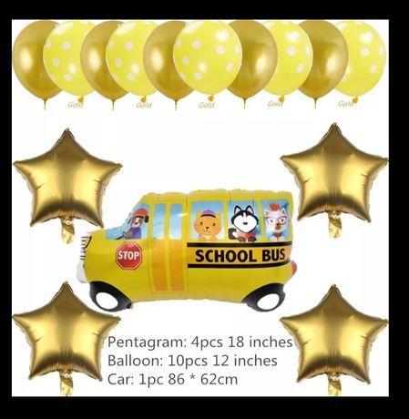Набор шариков надувных (автобус, звёзды и обычные)