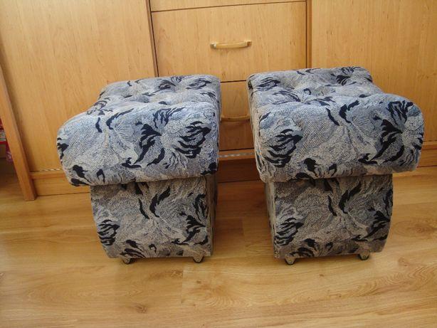 2 Pufy, siedzisko z mocną skrzynią schowkiem, krzesełka tapicerowane