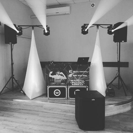 Zestaw dla DJ - nagłośnienie, oświetlenie, okablowanie, konsola