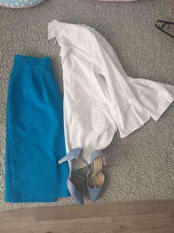 Vintage retro trapezowa midi wysoki stan spódnica żywo niebieska 42 44