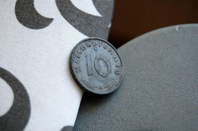 Monety, moneta 10 Pfennig 1942 rok.