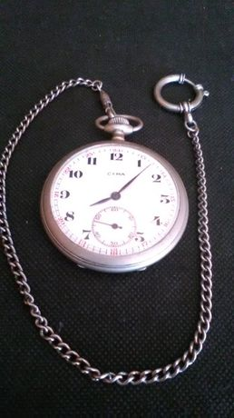 zegarek kieszonkowy Cyma z dewizką Srebro Alpaka antyk.