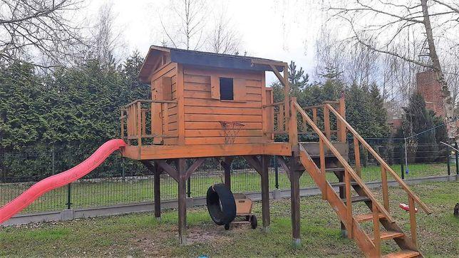 Domek drewniany dla dzieci ze zjeżdżalnią - duży, solidny