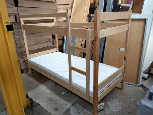 Łóżko piętrowe drewniane pracownicze domowe 90x200 komplet z materacem