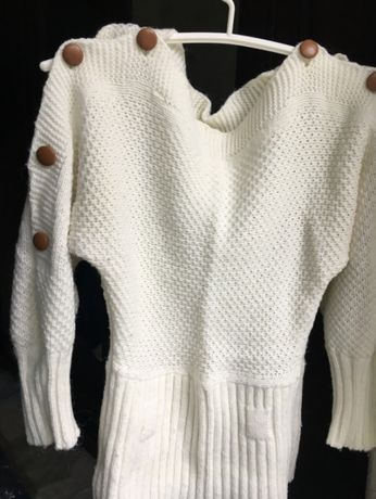 джемпер свитер белый SJW SPORTSHOW турция для девочки теплый вязанный