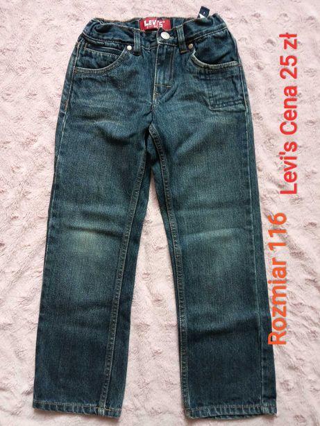 Spodnie i koszule chłopięce r. 110, 116, 122