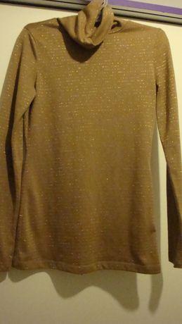 Golf bluzka nude beżowa złote nity h&M 34 36 xs S NOWY