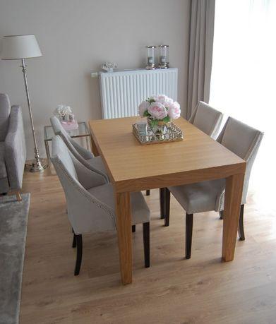 Stół drewniany rozkładany 120 x 80 kolor dąb naturalny niebarwiony