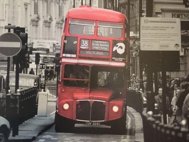 Obraz w drewnianej ramie - Czerwony Autobus