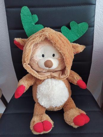 Мягкая игрушка новогодний олень в капюшоне