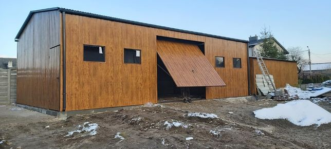Garaż blaszany wiata 10x6 drewnopodobna złoty dąb 3D Hala magazyn