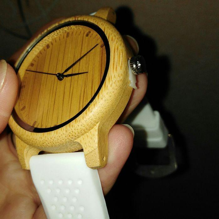 Часы бамбуковые новые силиконовый белый ремешок Чернигов - изображение 1