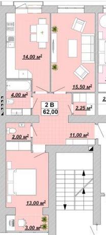 Квартира у центрі міста 2 кім 62 м2,район вул.Галицька