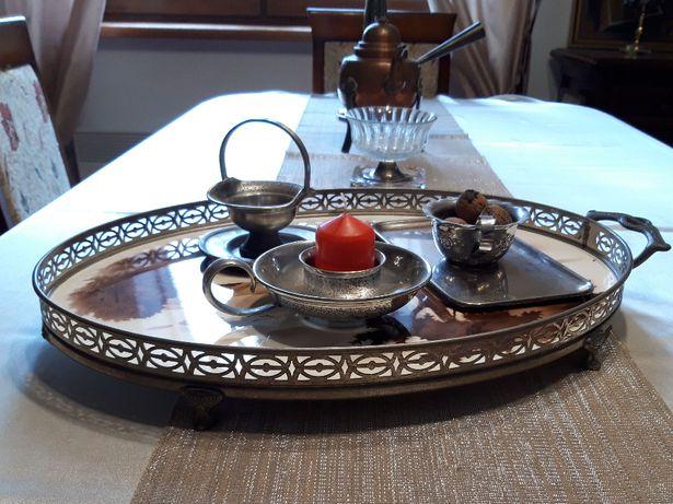 Wiekowa taca w stylu secesyjnym z wkładem ceramicznym jak MAJOLIKA